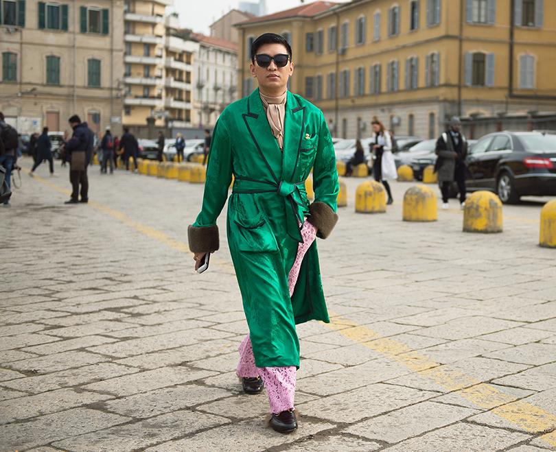 Лучшие образы street style на Неделе моды в Милане: Модный блогер Брайан Бой