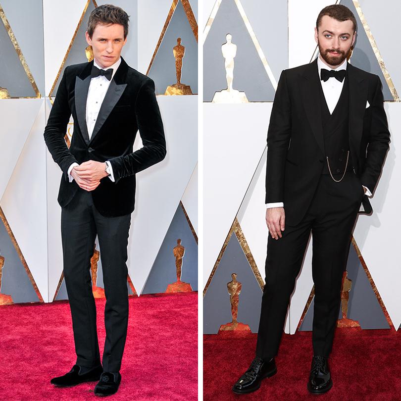 Мужские образы на церемонии награждения победителей «Оскар-2016»: Эдди Редмэйн и Сэм Смит