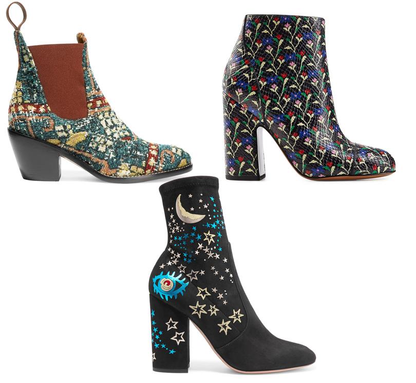 Shoes & Bags Blog: ботильоны из набивного бархата и принтованного жаккарда. Ботильоны Chloe, Marc Jacobs, Valentino