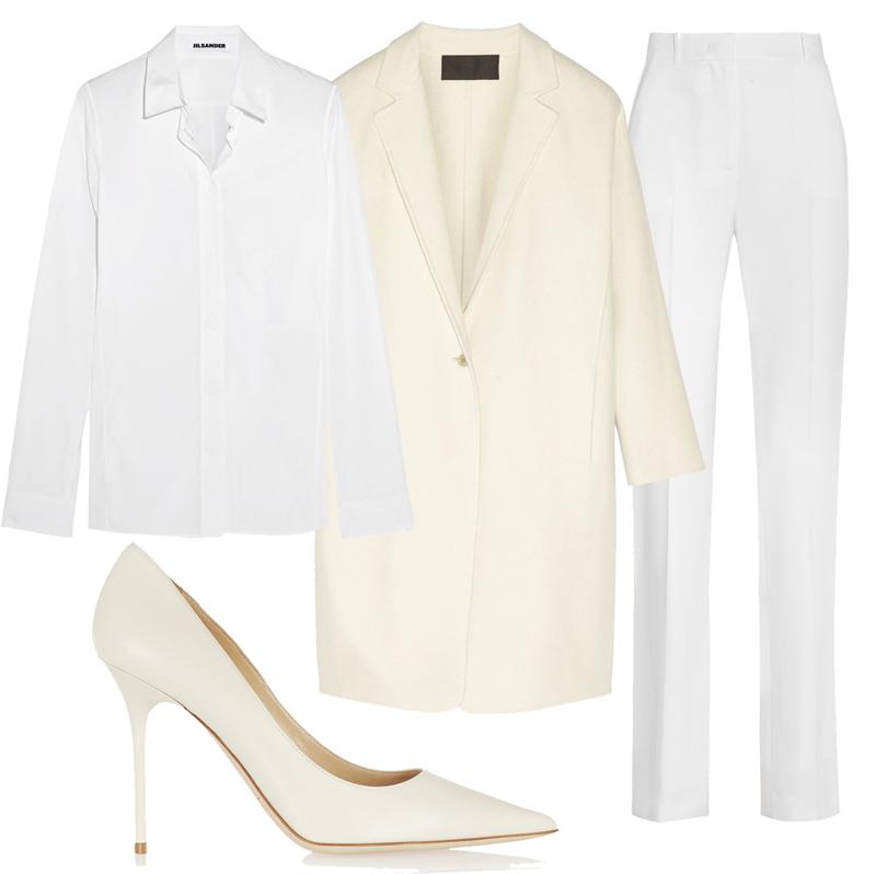 Объемная белая рубашка Jil Sander, брюки сзавышенной талией Givenchy, лодочки Jimmy Choo, кашемировое пальто Donna Karan New York