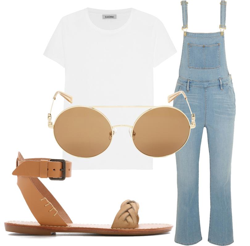 Джинсовый комбинезон Frame Denim, футболка Totême, сандалии Soludos, очки Wonderland