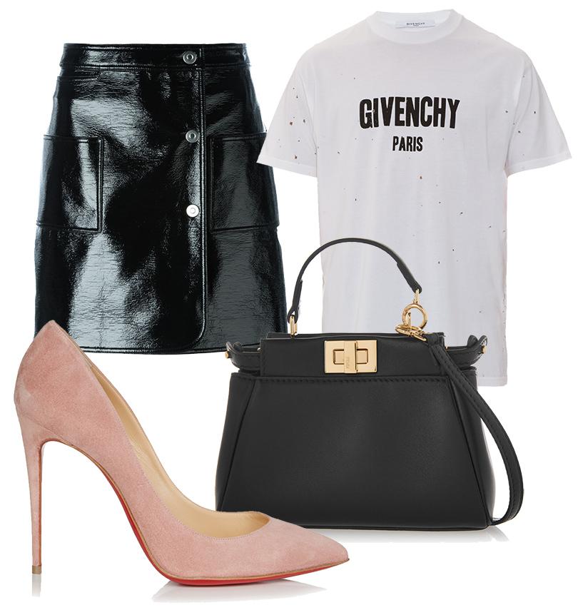 Кожаная мини-юбка Courrèges, футболка Givenchy, замшевые лодочки Christian Louboutin, сумка Fendi