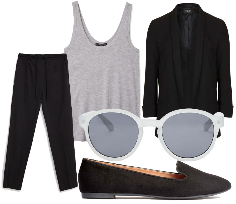 Брюки Zara, укороченный топ Mango, блейзер Topshop, лоферы H&M, солнцезащитные очки Urban Outfitters.