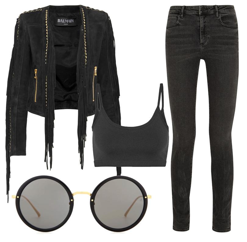 Укороченная замшевая куртка сбахромой Balmain, кроп-топ Helmut Lang, серые джинсы сзавышенной талией Alexander Wang, солнцезащитные очки Linda Farrow
