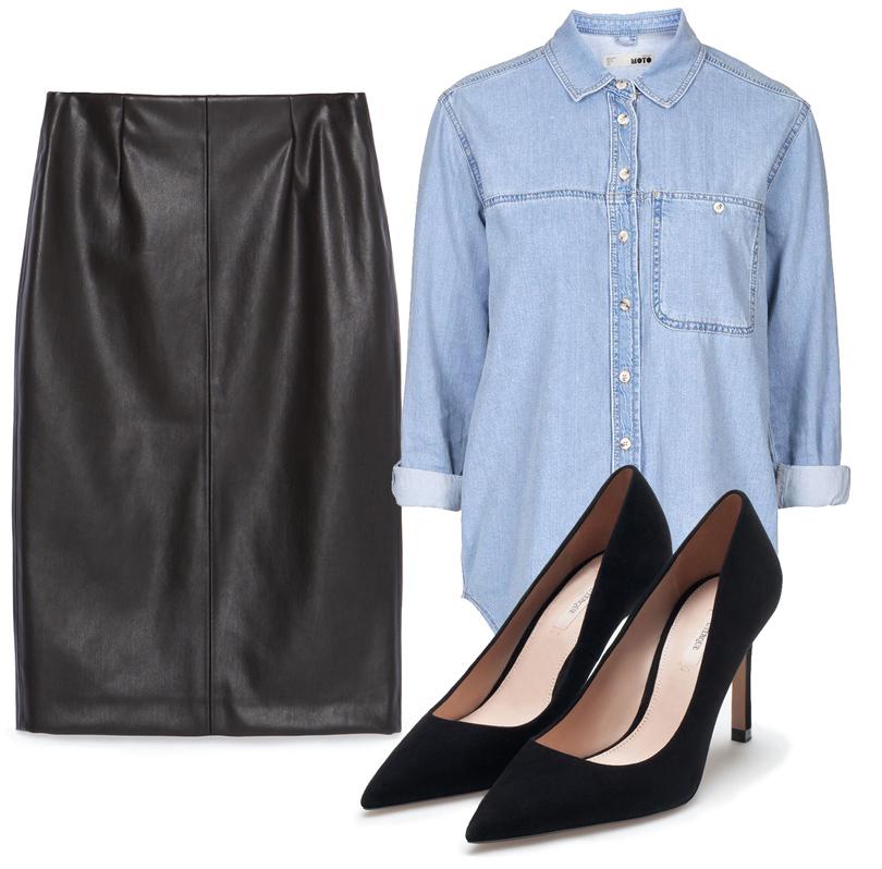 Рубашка изденима Topshop, юбка изискусственной кожи Zara, замшевые лодочки Uterque
