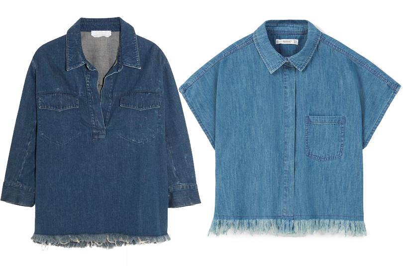 Мода и бизнес: найти десять отличий. Как масс-маркет «вдохновляется» люксовым сегментом. Джинсовая рубашка-оверсайз сбахромой Chloé VSджинсовая рубашка-оверсайз сбахромой Mango