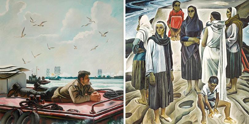 «Суровый стиль» Таира Салахова в Третьяковке: «Утро на Каспии» (1986), «Женщины Апшерона» (1967)