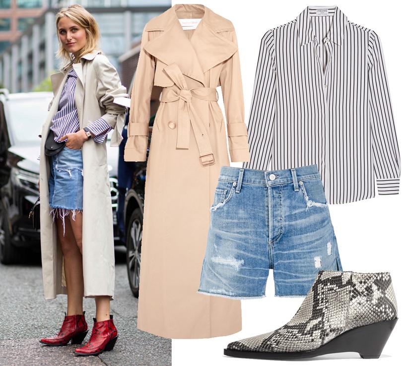 Trend Alert: три способа носить пальто-тренч этой осенью. Тренч See byChloé, рубашка Frame, шорты Citizens ofHumanity, ботильоны Acne Studios