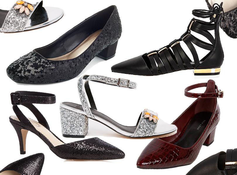 Туфли наустойчивом каблуке, декорированные пайетками, Marks &Spencer; туфли встиле «Мэри Джейн» нанебольшом каблуке New Look; сияющие босоножки ASOS сдекоративными стразами; босоножки сзакрытым носом Debenhams; туфли нашнуровке сконтрастным каблуком River Island