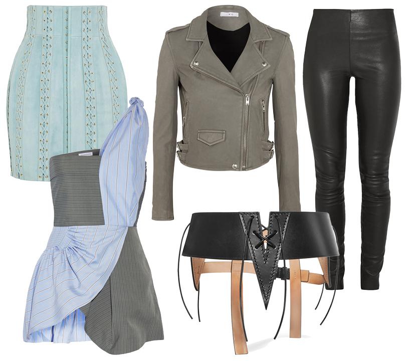 Кожаный пояс-корсет Tom Ford, замшевая мини-юбка сошнуровкой Balmain, сорочка J.W. Anderson, кожаные леггинсы ByMalene Birger, серая куртка-косуха Iro