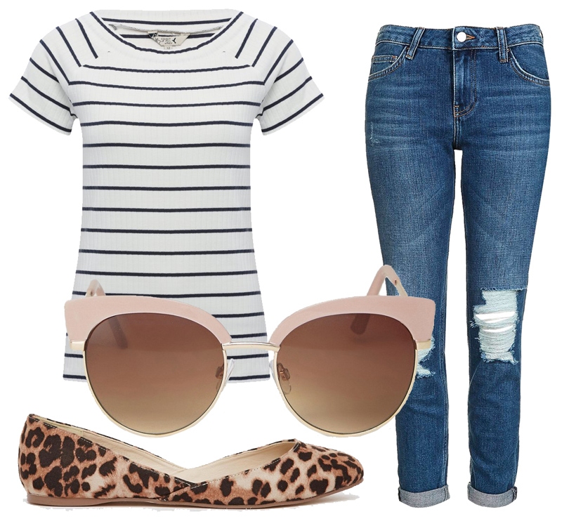 Укороченные прямые джинсы Topshop, топ M&Co, балетки ASOS, солнцезащитные очки ALDO