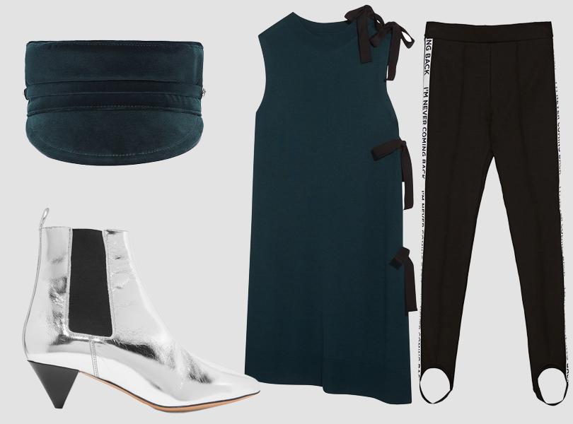 Картуз, Scora; платье, MM6 Maison Margiela; водолазка, Vince; легинсы, Zara; ботильоны, Isabel Marant