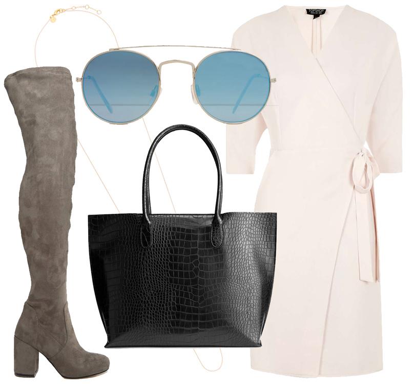 Платье сзапахом Topshop, ботфорты изискусственной замши ASOS, сумка H&M, колье ввиде тонкой цепочки Accessorize, солнцезащитные очки Mango.