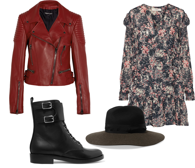 Платье Etoile Isabel Marant, байкерская куртка Tom Ford, полуботинки Gianvito Rossi, шляпа Rag &Bone