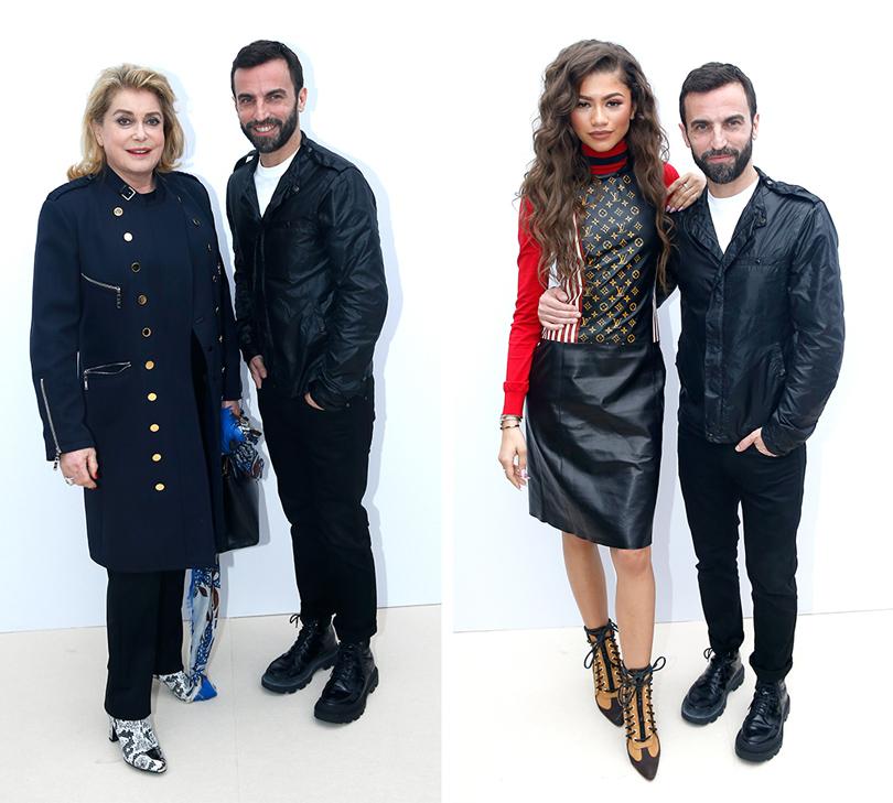 Гости показа Louis Vuitton на PFW, 2016: Катрин Денев иНиколя Гескьер. Зендая