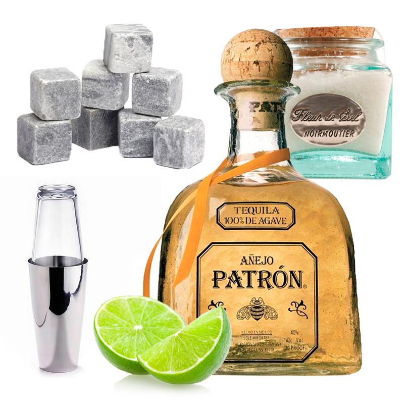Камни для виски;  шейкер для коктейлей; текила Patron Añejo