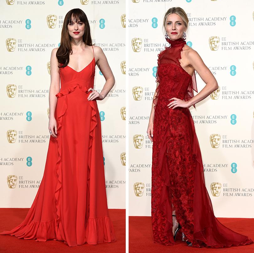 Церемония вручения премий BAFTA 2016 в Лондоне: Дакота Джонсон (Dior). Аннабель Уоллис (платье Oscar de la Renta, украшения Chopard)