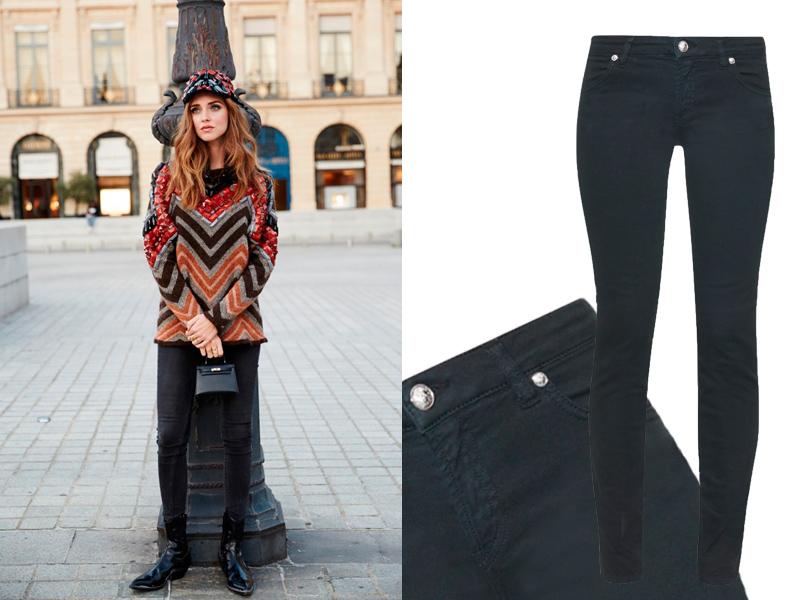 Составляем базовый зимний гардероб на примере звездных образов: темные джинсы. Кьяра Ферраньи; джинсы Versus Versace