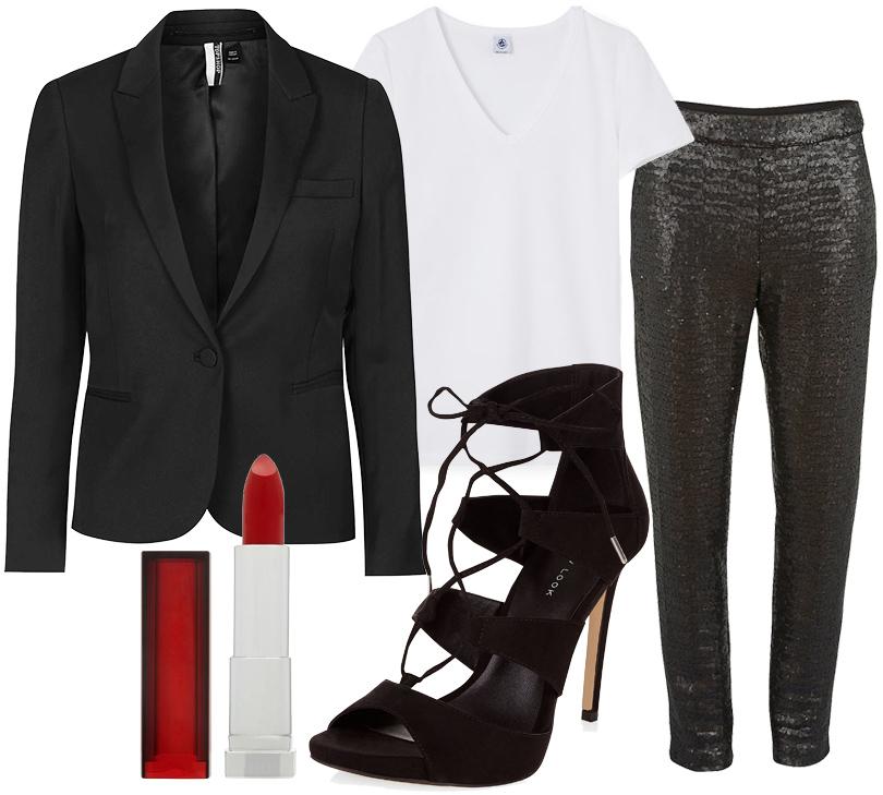 Футболка Petit Bateau, жакет Topshop, брюки Gina Bacconi, босоножки навысокой шнуровке New Look, помада Maybelline Color Sensational Lipstick воттенке 530 Fatal Red