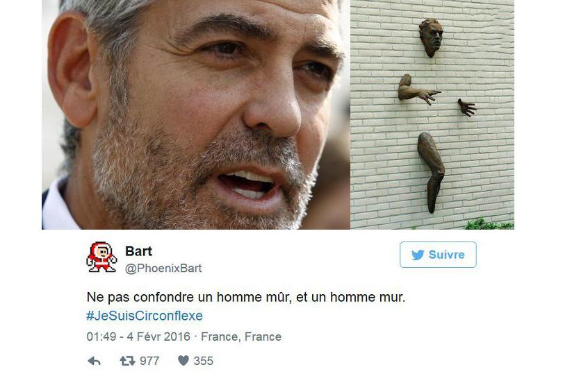 Этот твит предостерегает об опасности спутать слова «mûr» (зрелый) и «mur» (стена): «Не путайте мужчину зрелого и мужчину-стену!» #JeSuisCirconflexe