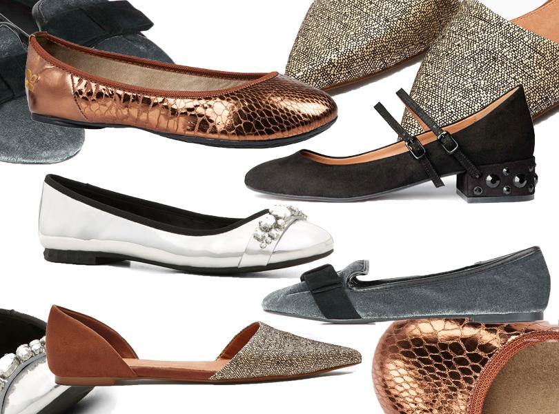Вельветовые балетки Topshop; туфли наустойчивом каблуке H&M; двухцветные туфли сдекоративной вышивкой Next; туфли изсеребристой искусственной кожи ALDO; балетки изкожи под питона Office