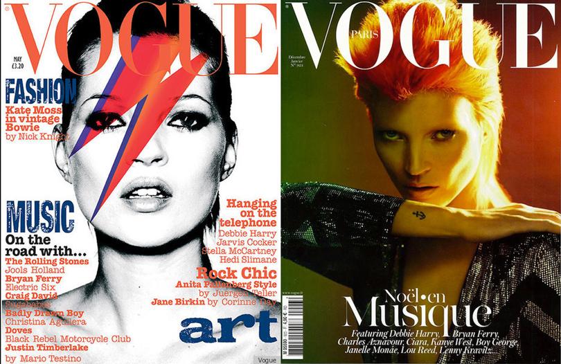 Кейт Мосс на обложке британского Vogue, 2003 год; Кейт Мосс на обложке французского Vogue, 2012 год