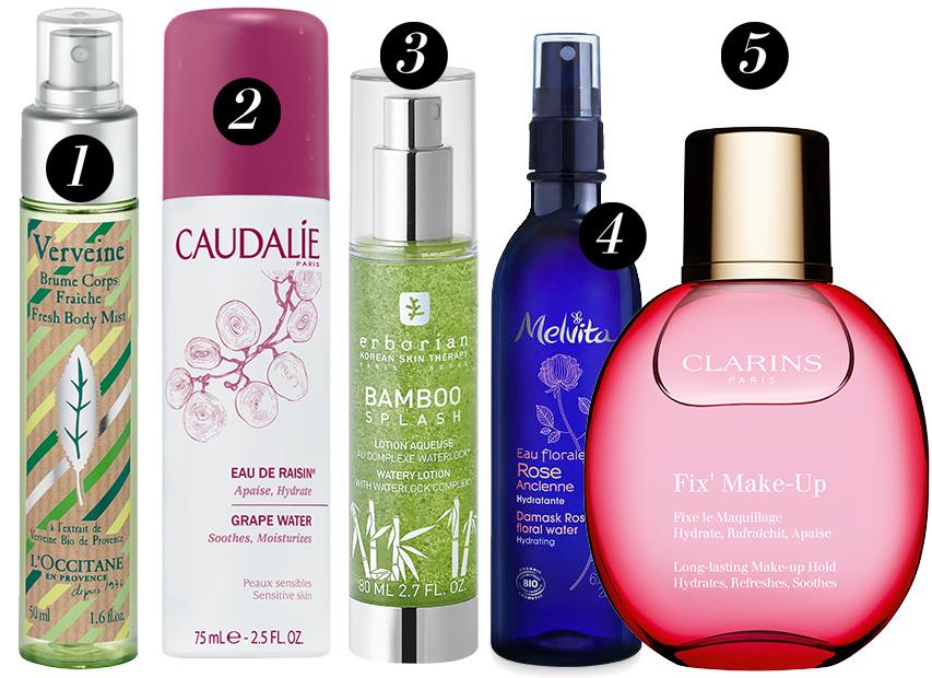 1.Освежающий спрей для тела Вербена отL'Occitane, 2. Виноградная вода Caudalie3. Энергетичексий лосьон (mist) наоснове трав отErborian4. Цветочная вода-спрей «Роза» отMelvita5. Спрей-фиксатор для макияжа Fix'Make-Up отClarins