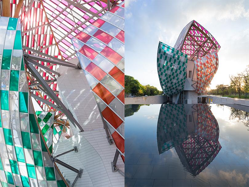 Двенадцать «парусов», состоящих из3600 стеклянных панелей, будут закрыты конструкцией измножества цветных фильтров, прерываемых, всвою очередь, расположенными наравном расстоянии друг отдруга чередующимися белыми ицветными полосами, перпендикулярными поверхности земли.