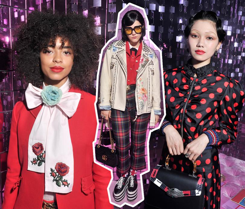 Мода и бизнес: война поколений. Почему модная индустрия делает ставку на миллениалов? Первый ряд напоказе Gucci, весна-лето 2017: Келси Лу, Соко, Фуми Никайдо