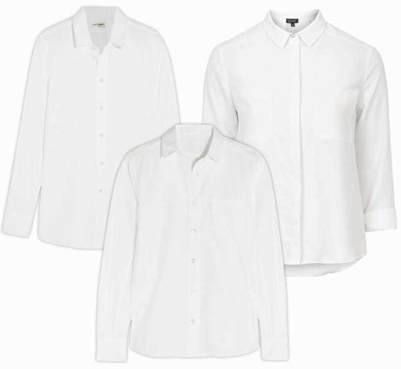 Trend Alert: модный минимализм. Новый подход к созданию базового гардероба. Классическая хлопковая рубашка Saint Laurent, рубашка прямого кроя Sacai, рубашка сширокими манжетами Topshop