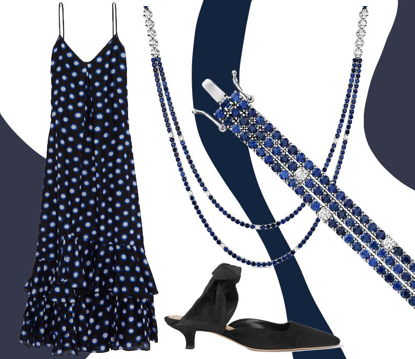 Платье, Boutique Moschino; мюли, The Row; колье ибраслет ссапфирами ибриллиантами изколлекции Grace, Московский ювелирный завод