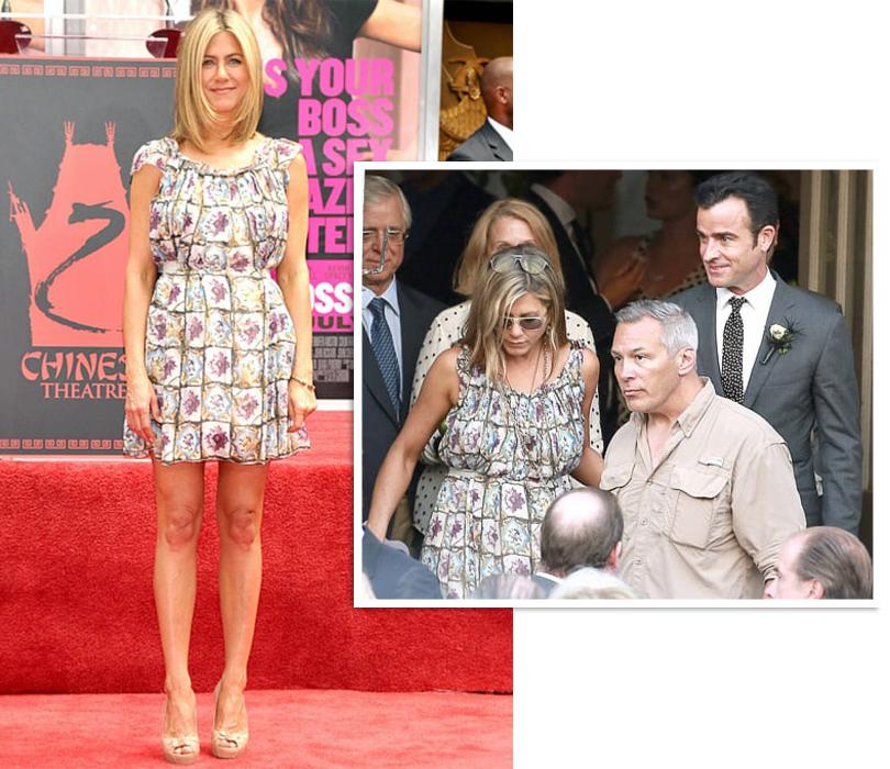 Тренд на outfit recycling: носить платья по два раза считают уместным Дженнифер Энистон в Valentino