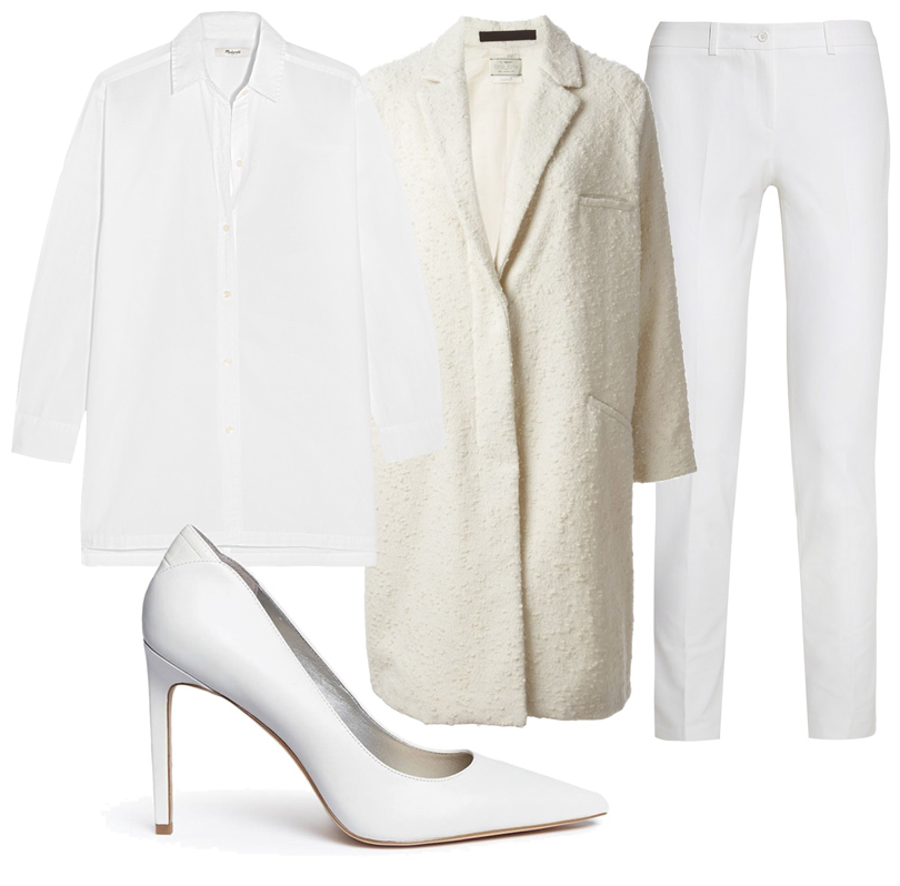 Объёмная белая рубашка Madewell, брюки Michael Kors Collection, лодочки Sam Edelman, пальто Forte Forte