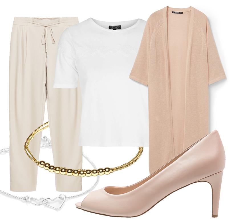 Брюки Zara, футболка Topshop, удлиненный кардиган Mango, туфли Dorothy Perkins, браслет Accessorize