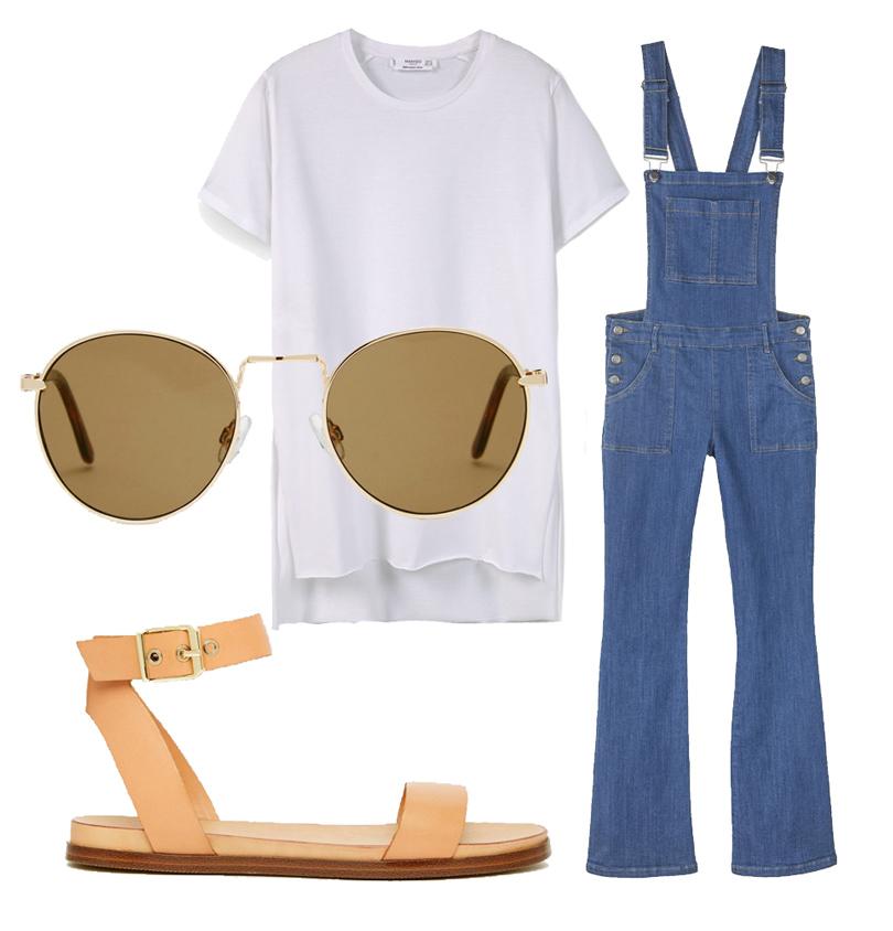 Джинсовый комбинезон Pimkie, футболка Mango, сандалии ALDO, очки ASOS