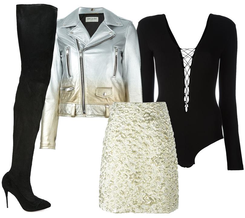 Куртка-косуха изметаллизированной кожи кожи Saint Laurent, юбка сзавышенной талией Kenzo, боди надекоративной шнуровкеT byAlexander Wang, замшевые ботфорты Maison Margiela