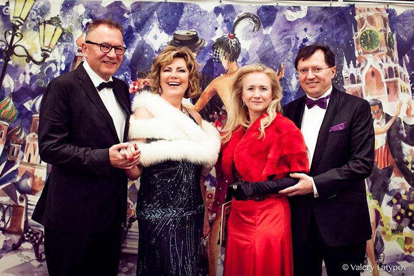 Марина Марцелине с супругом, Галина и Сергей Фомины