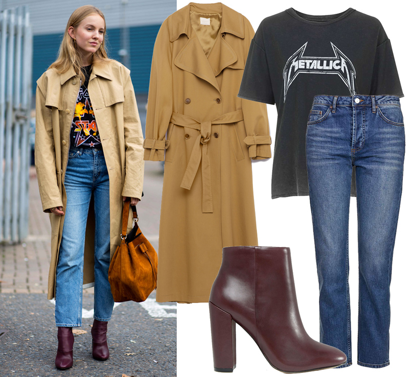 Trend Alert: три способа носить пальто-тренч этой осенью. Пальто Zara, джинсы ифутболка Topshop, ботильоны ALDO