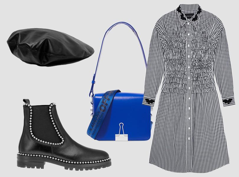 Берет изискусственной кожи, Zara; платье-рубашка, Simone Rocha (Aizel); ботинки, Alexander Wang; сумка, Off-White