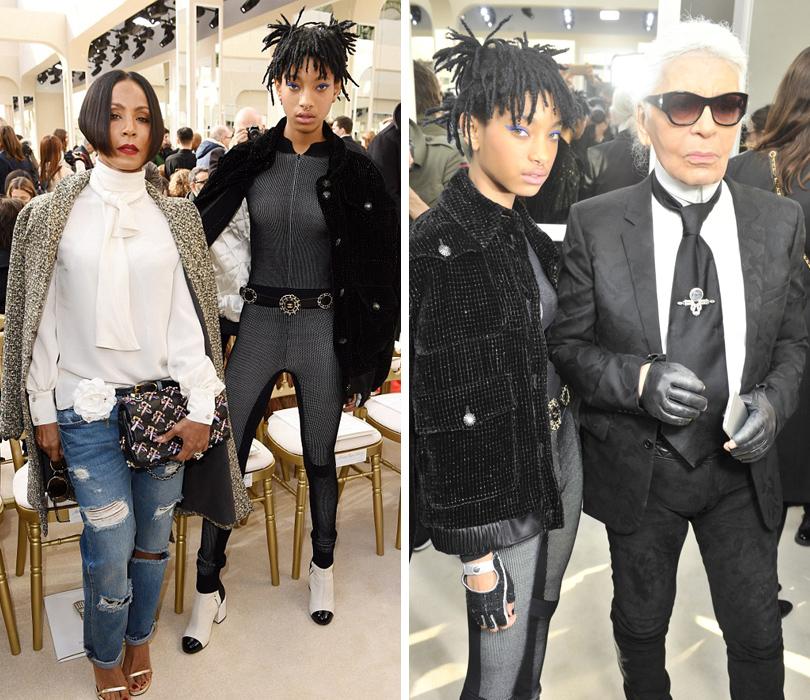 Звездные гости Недели моды в Париже, 2016: Джада Пинкетт-Смит, Уиллоу Смит, Карл Лагерфельд