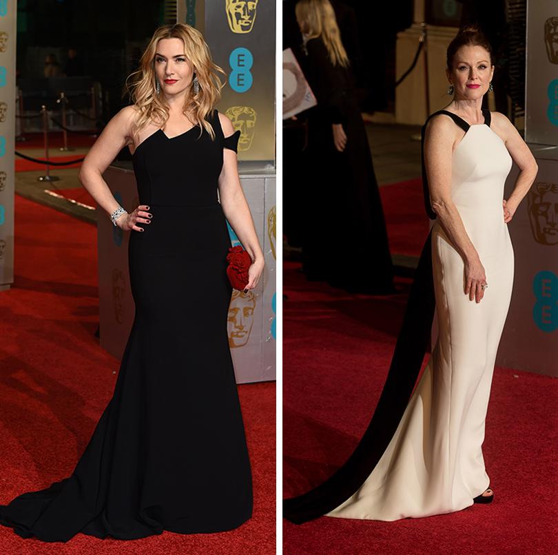 Церемония вручения премий BAFTA 2016 в Лондоне: Кейт Уинслет (Antonio Berardi). Джулианна Мур (платье Armani, украшения Chopard)