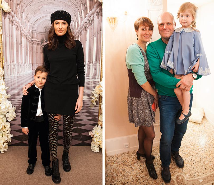 Снежана Георгиева с сыном, Алексей Кортнев с женой Аминой Зариповой и дочерью