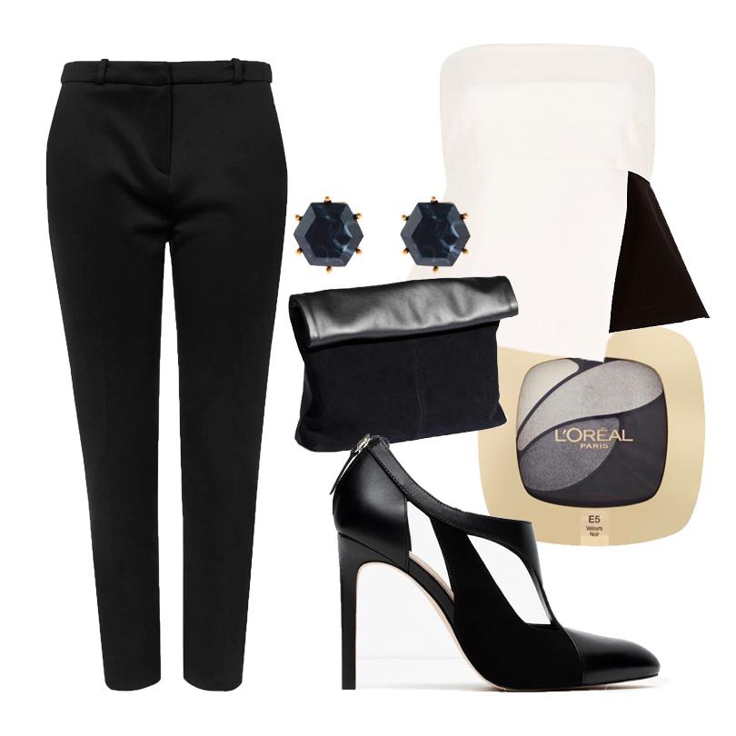 Зауженные брюки Topshop, контрастный топ-бюстье River Island, туфли из комбинированной кожи Zara, клатч H&M, серьги-пусеты Accessorize, палетка теней для дымчатого макияжа L'Oreal Paris Colour Riche Quad в оттенке Incredible Grey.