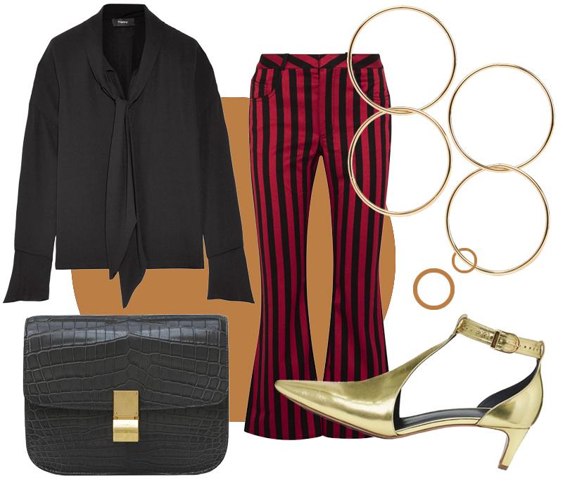 Золотые туфли исумка изкрокодила Céline, брюки Marques' Almeida, блузка Theory, серьги Kenneth Jay Lane