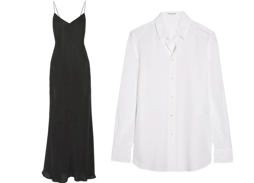Классическая белая рубашка Saint Laurent ишелковое платье-камисоль The Row