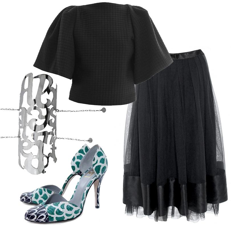Luxe for Less: в Париже открылся Интернет-магазин модной одежды «без накруток»! Туфли Fred Marzo, юбка Madame Aime, топ Stephanie Coudert, браслет Alice Hubert