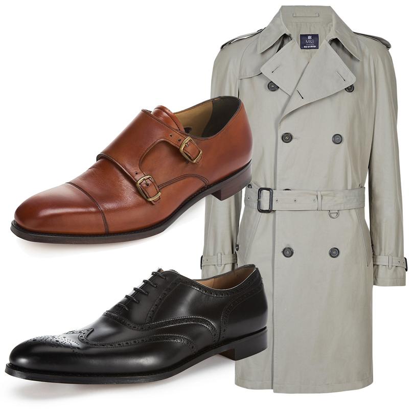 Luxe for less: От «массы» к «классу». Массовые марки в премиум-сегменте. Мужское пальто из натурального хлопка (€390), перфорированные броги (€318), мужские ботинки (€370). Все Marks & Spencer Best of British.