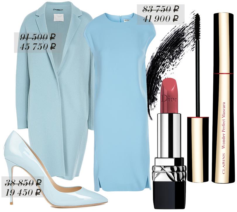 Пальто Boss, платье Balenciaga, туфли Casadei, удлиняющая ипридающая объем тушь сэффектом подкручивания Clarins Wonder Black Mascara, помада Rouge Dior воттенке 277 Osée