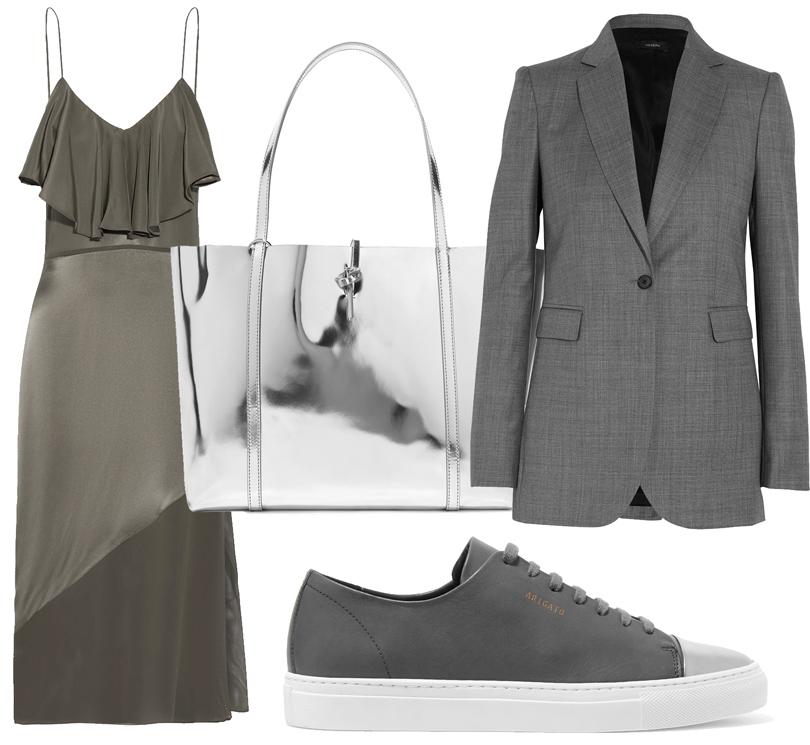 Office Style: адаптируем самые «горячие» подиумные тренды весны для корпоративного дресс-кода. Шелковое платье Fleur DuMal, жакет Joseph, кроссовки Axel Arigato, сумка Kara