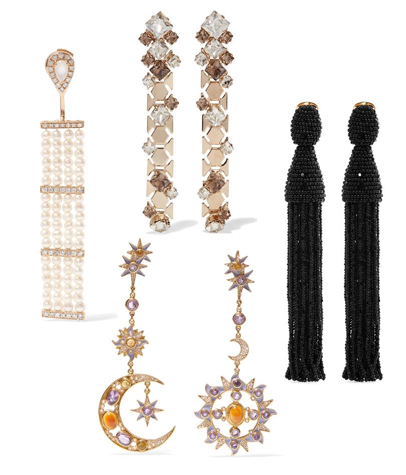 Одинарная серьга сжемчугом ибриллиантами Anissa Kermiche, серьги скристаллами Lanvin, серьги издрагоценных камней Percossi Papi, серьги-кисти Oscar delaRenta